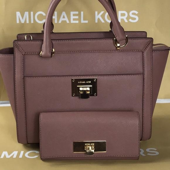 3ada61f81a4469 MICHAEL Michael Kors Bags | Michael Kors Tina Dusty Rose Lg Tz ...